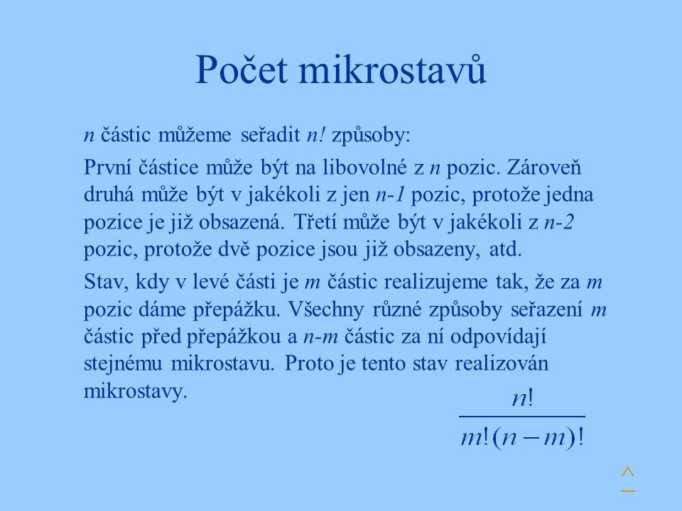 Počet mikrostavů ^ n částic můžeme seřadit n! způsoby: