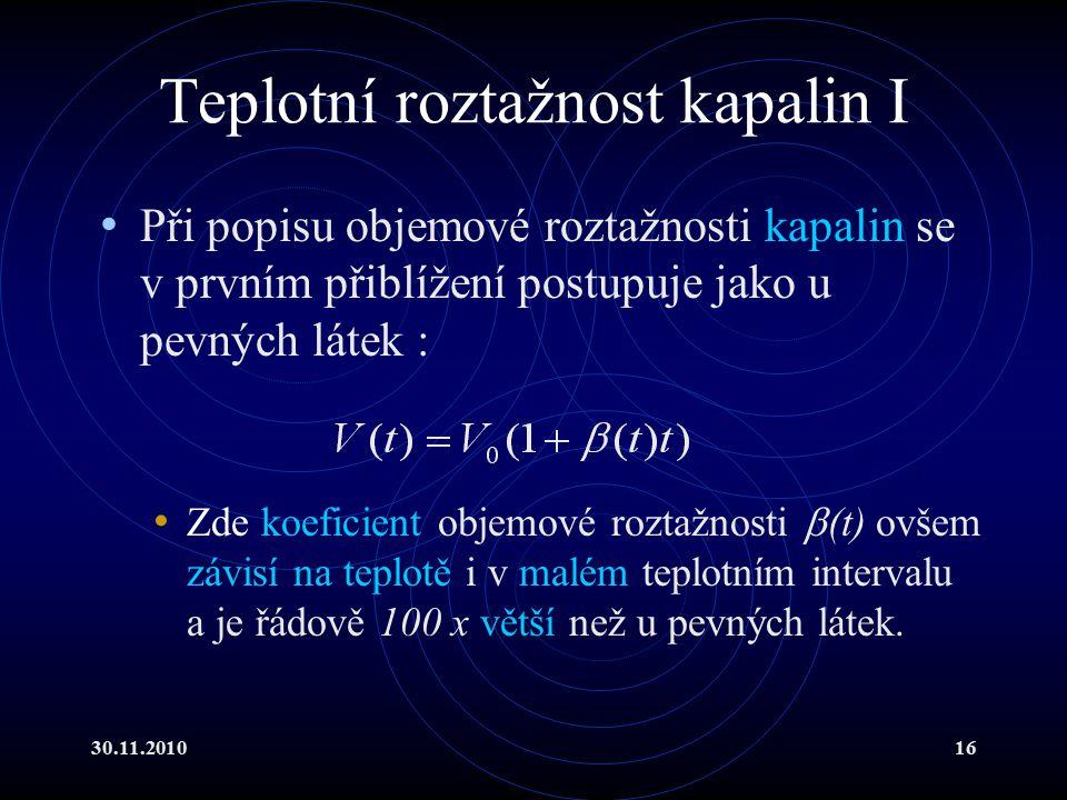 Teplotní roztažnost kapalin I