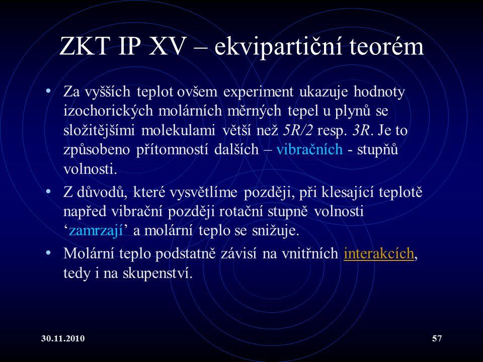ZKT IP XV – ekvipartiční teorém