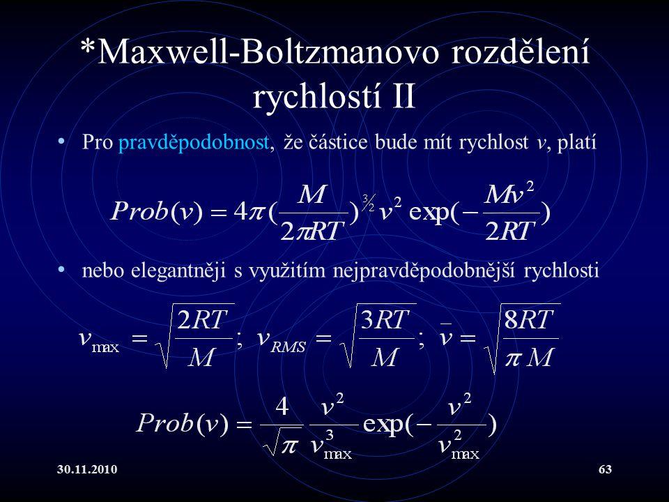 *Maxwell-Boltzmanovo rozdělení rychlostí II