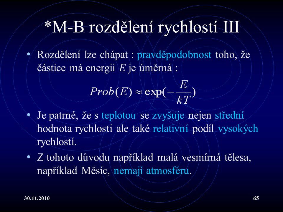 *M-B rozdělení rychlostí III