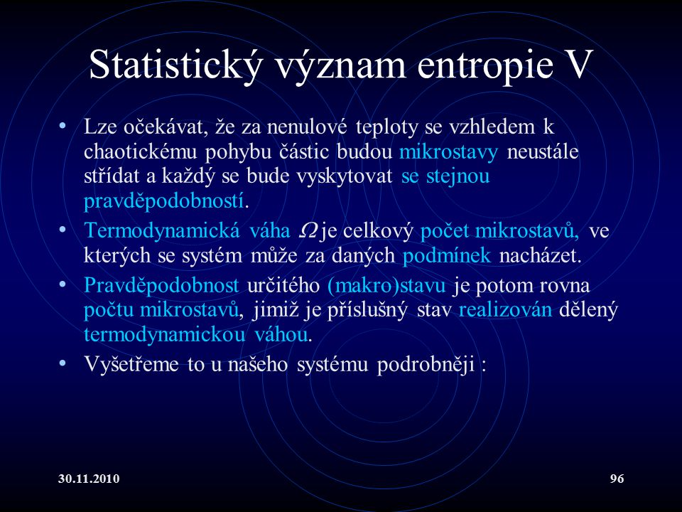 Statistický význam entropie V