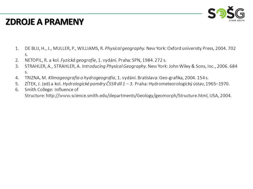 Zdroje a prameny DE BLIJ, H., J., MULLER, P., WILLIAMS, R. Physical geography. New York: Oxford university Press, s.