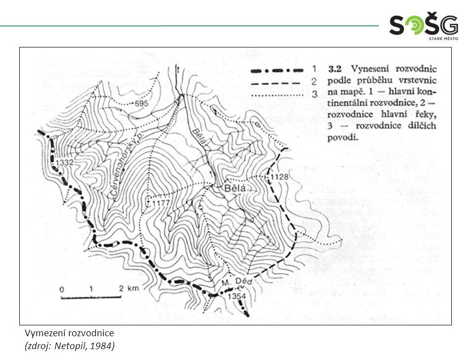 Vymezení rozvodnice (zdroj: Netopil, 1984)