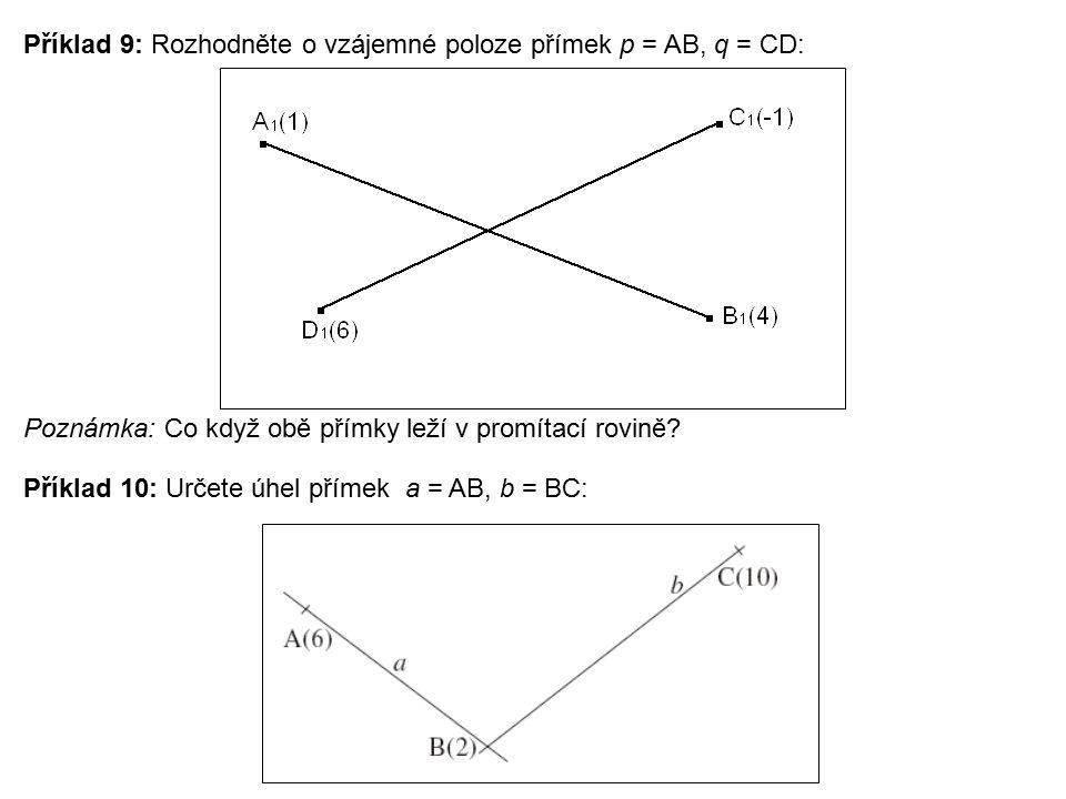 Příklad 9: Rozhodněte o vzájemné poloze přímek p = AB, q = CD: