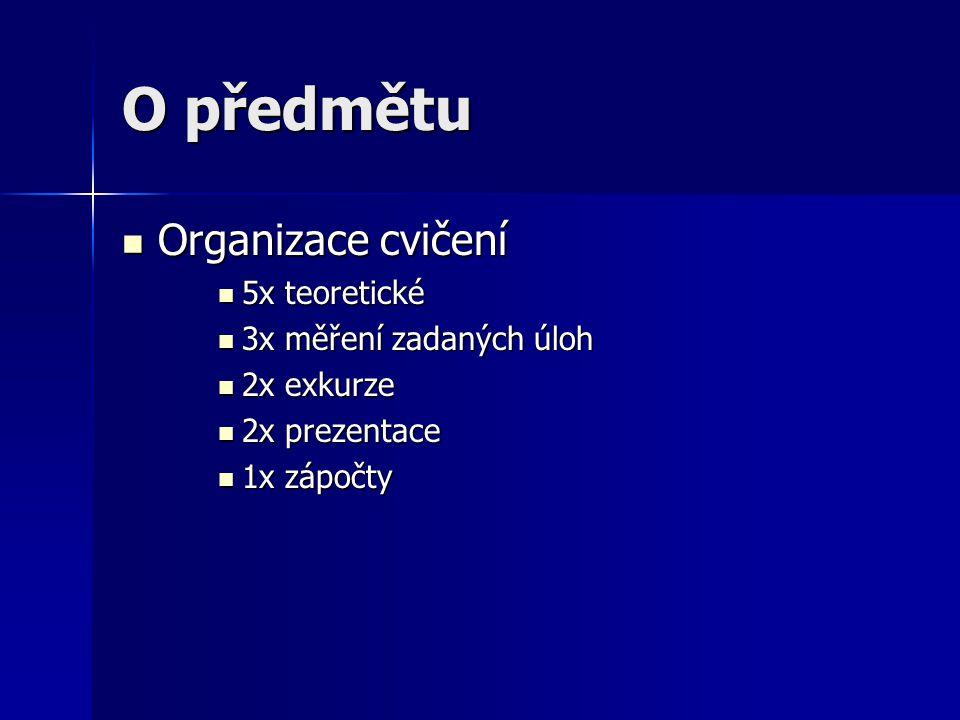O předmětu Organizace cvičení 5x teoretické 3x měření zadaných úloh