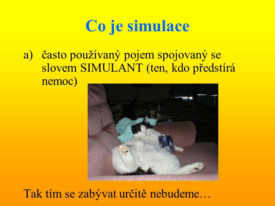 Co je simulace často používaný pojem spojovaný se slovem SIMULANT (ten, kdo předstírá nemoc) Tak tím se zabývat určitě nebudeme…