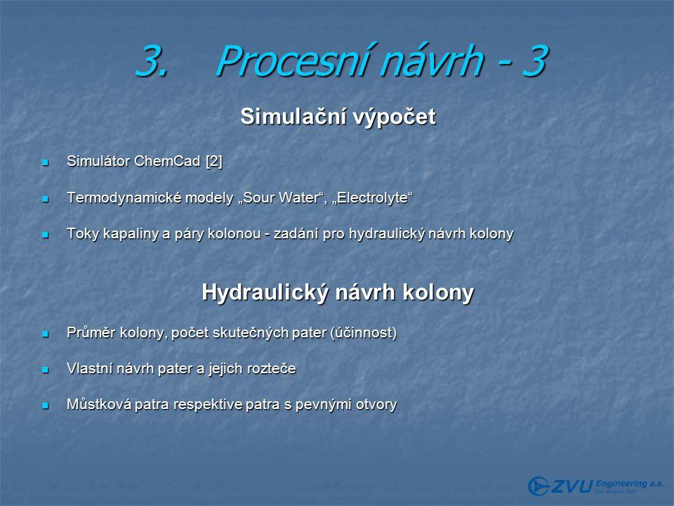 Hydraulický návrh kolony