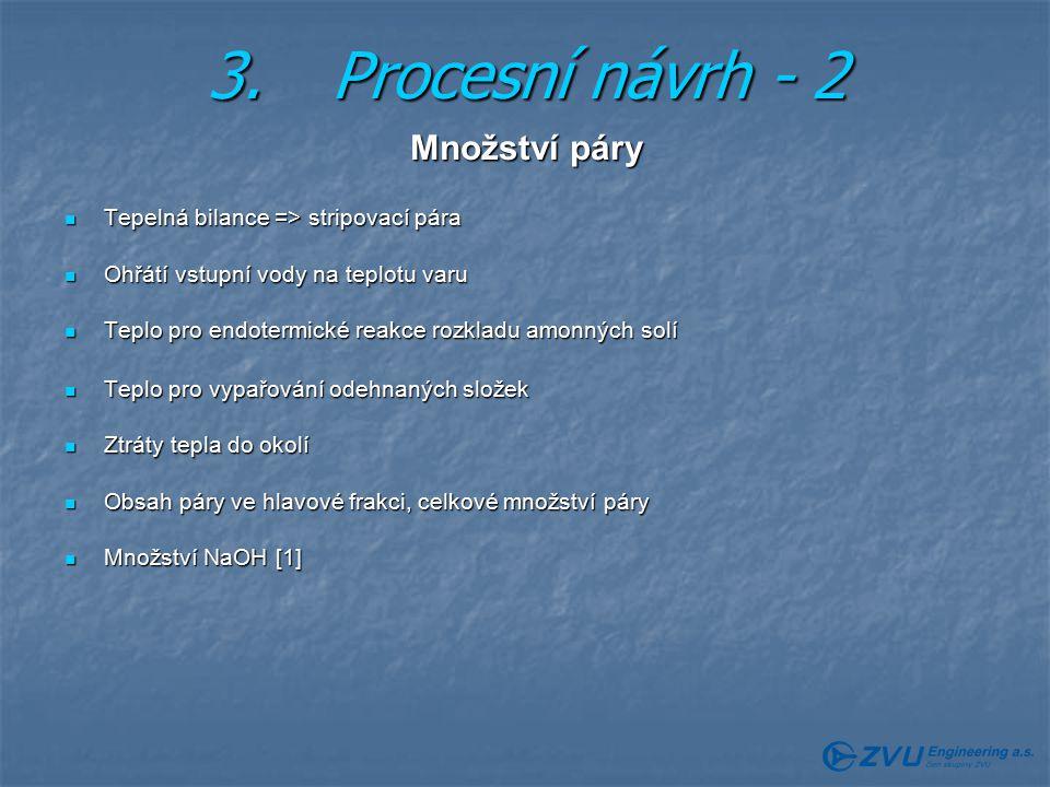 3. Procesní návrh - 2 Množství páry
