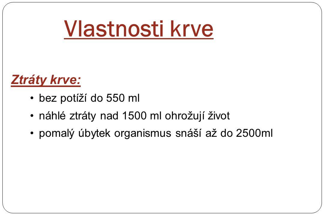 Vlastnosti krve Ztráty krve: bez potíží do 550 ml