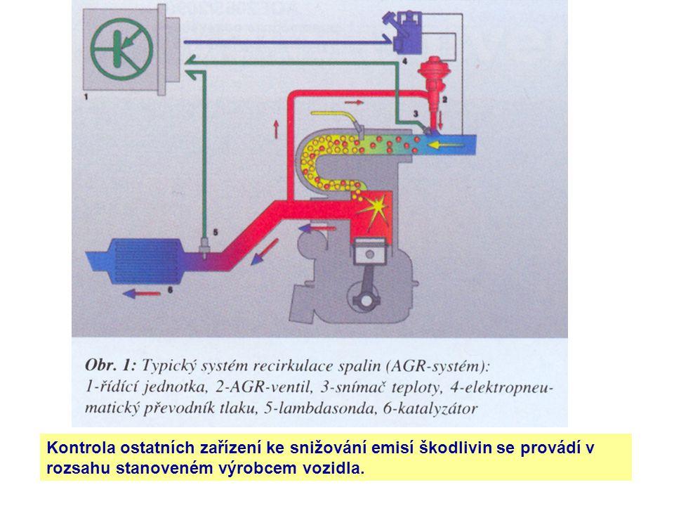 Kontrola ostatních zařízení ke snižování emisí škodlivin se provádí v rozsahu stanoveném výrobcem vozidla.
