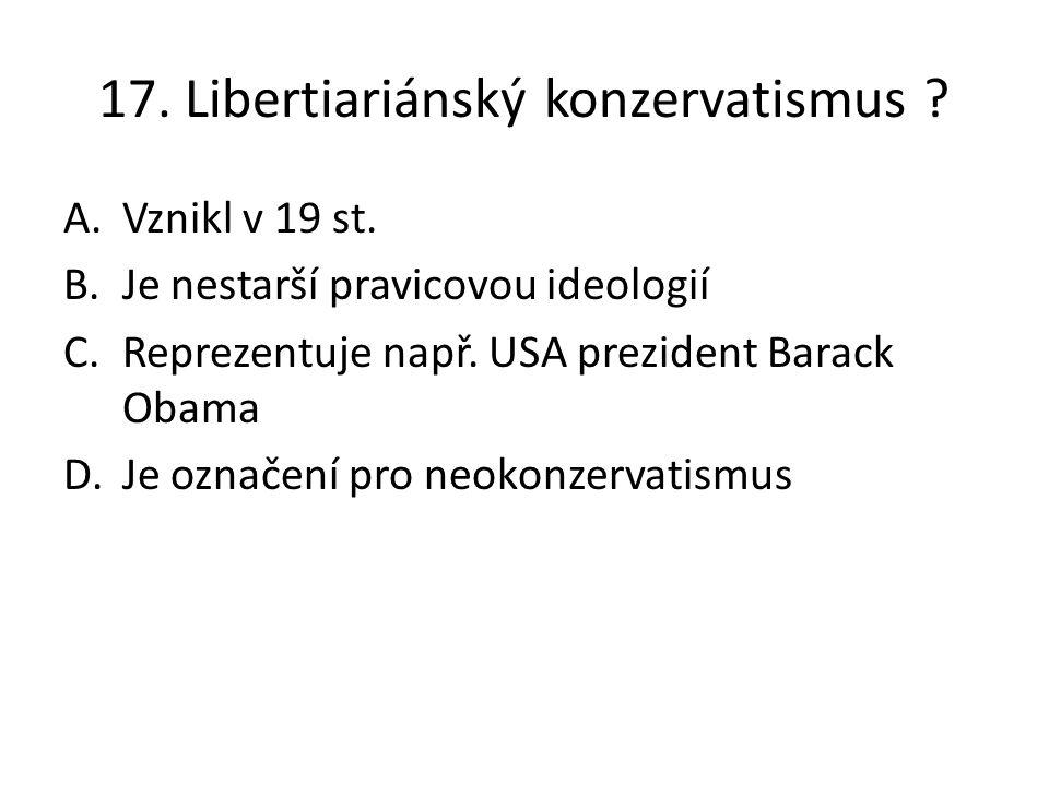 17. Libertiariánský konzervatismus