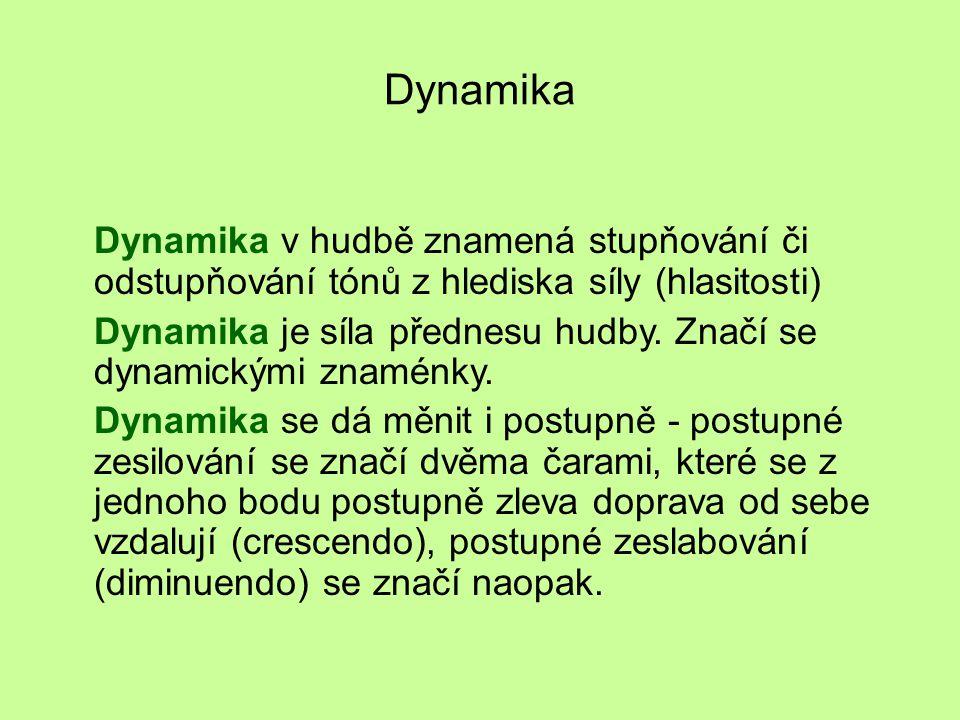 Dynamika Dynamika v hudbě znamená stupňování či odstupňování tónů z hlediska síly (hlasitosti)