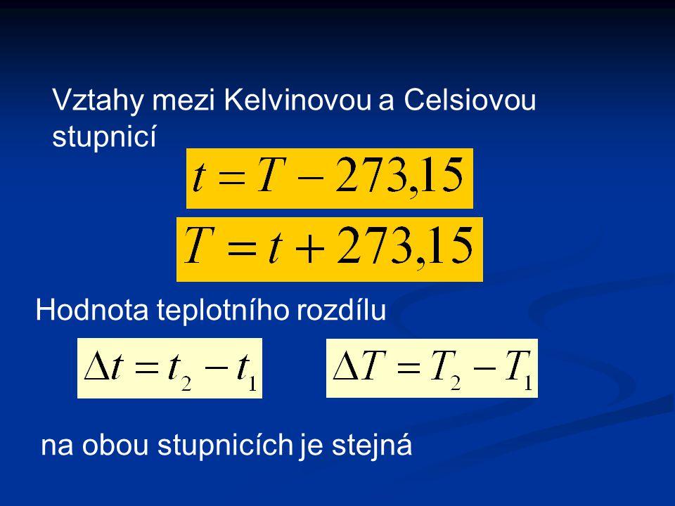 Vztahy mezi Kelvinovou a Celsiovou stupnicí