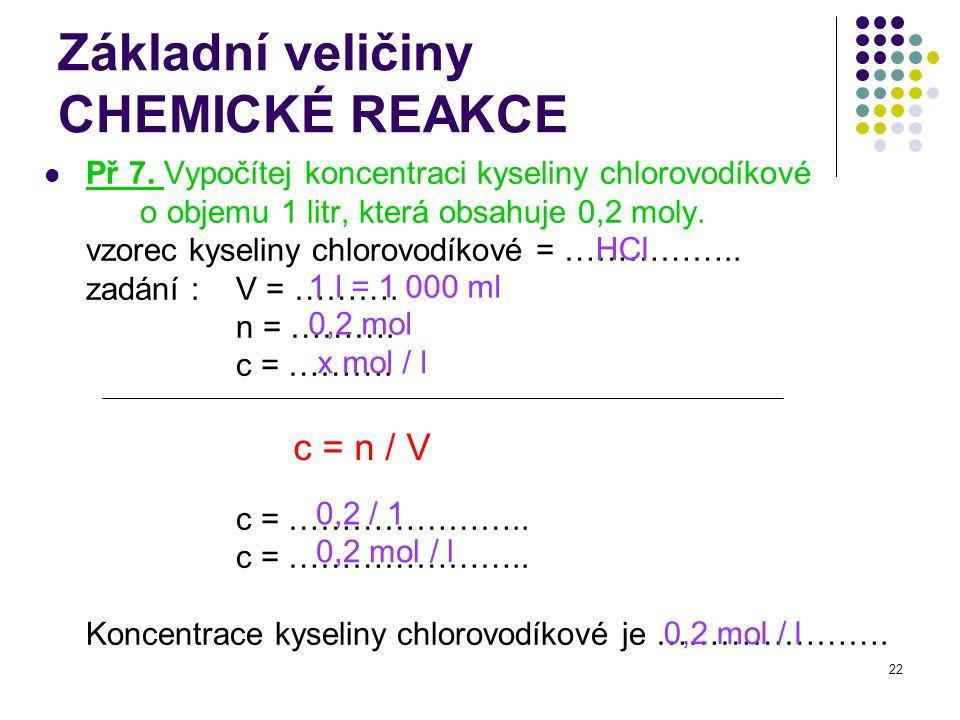 Základní veličiny CHEMICKÉ REAKCE