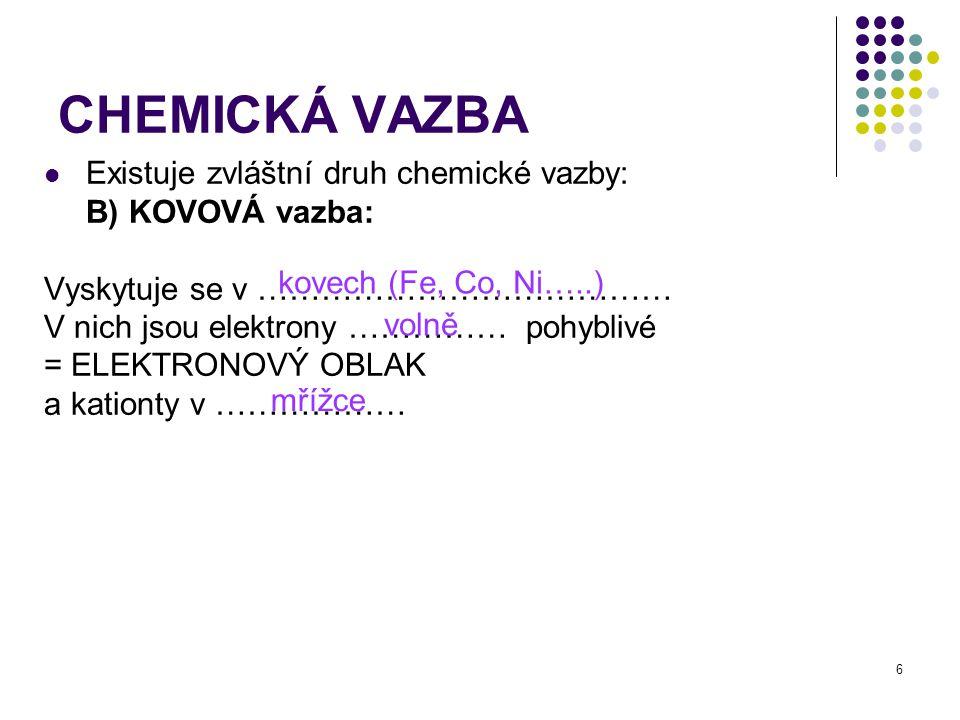 CHEMICKÁ VAZBA Existuje zvláštní druh chemické vazby: B) KOVOVÁ vazba: