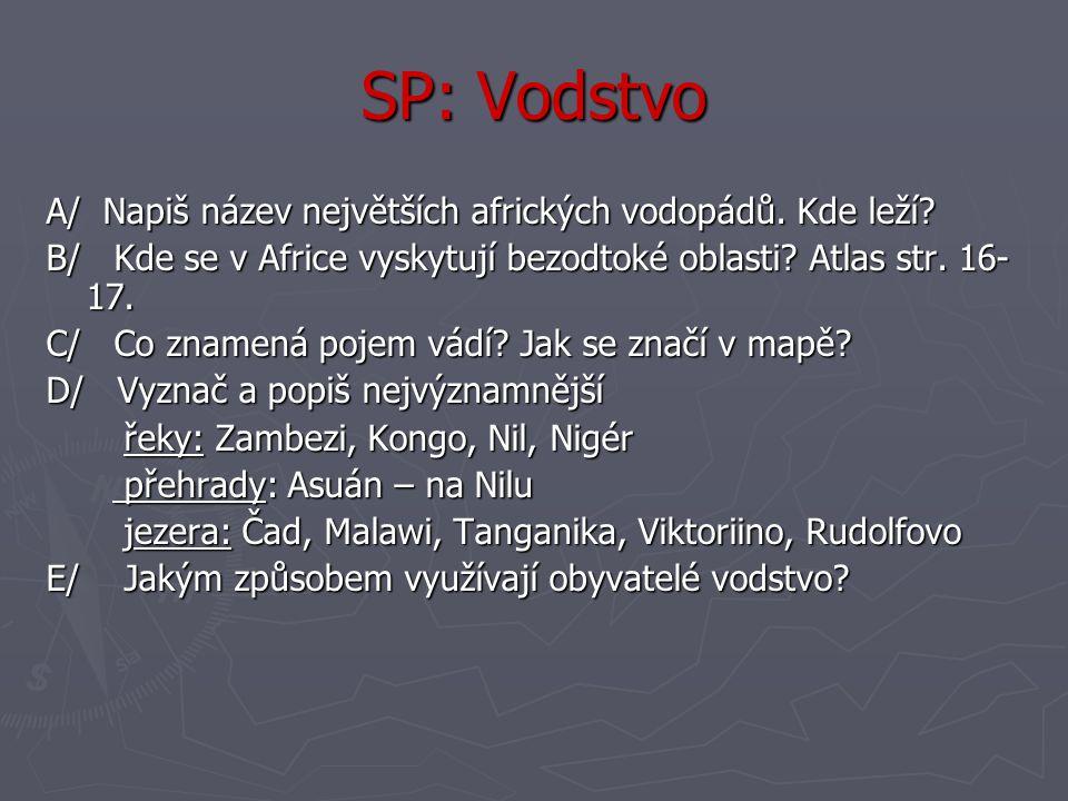 SP: Vodstvo A/ Napiš název největších afrických vodopádů. Kde leží