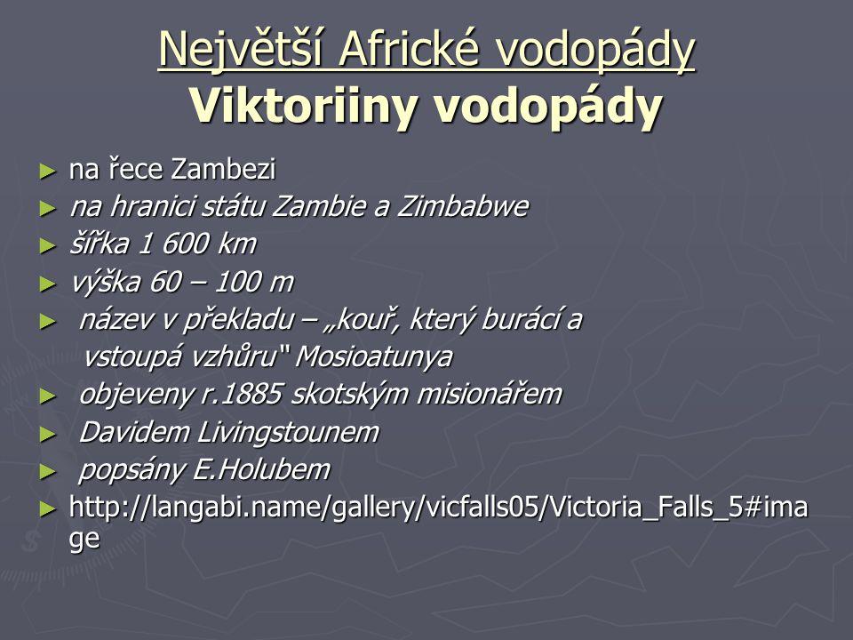 Největší Africké vodopády Viktoriiny vodopády
