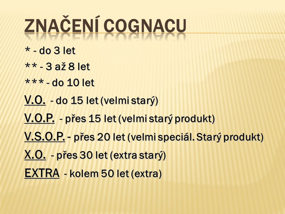 Značení cognacu V.O. - do 15 let (velmi starý)