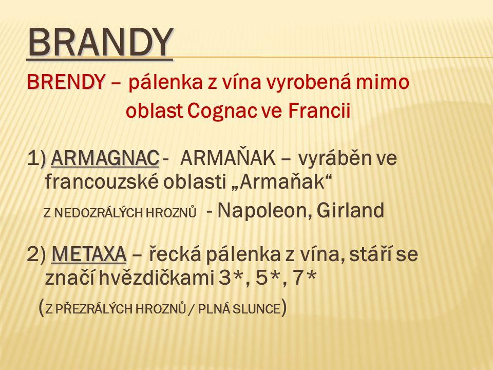 BRANDY BRENDY – pálenka z vína vyrobená mimo oblast Cognac ve Francii