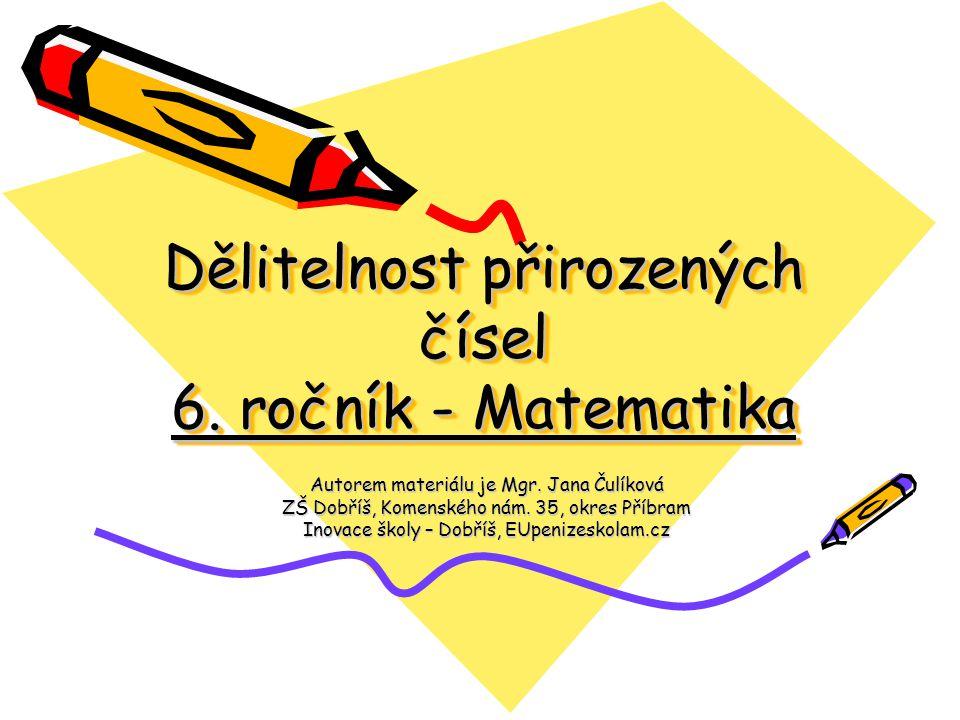 Dělitelnost přirozených čísel 6. ročník - Matematika