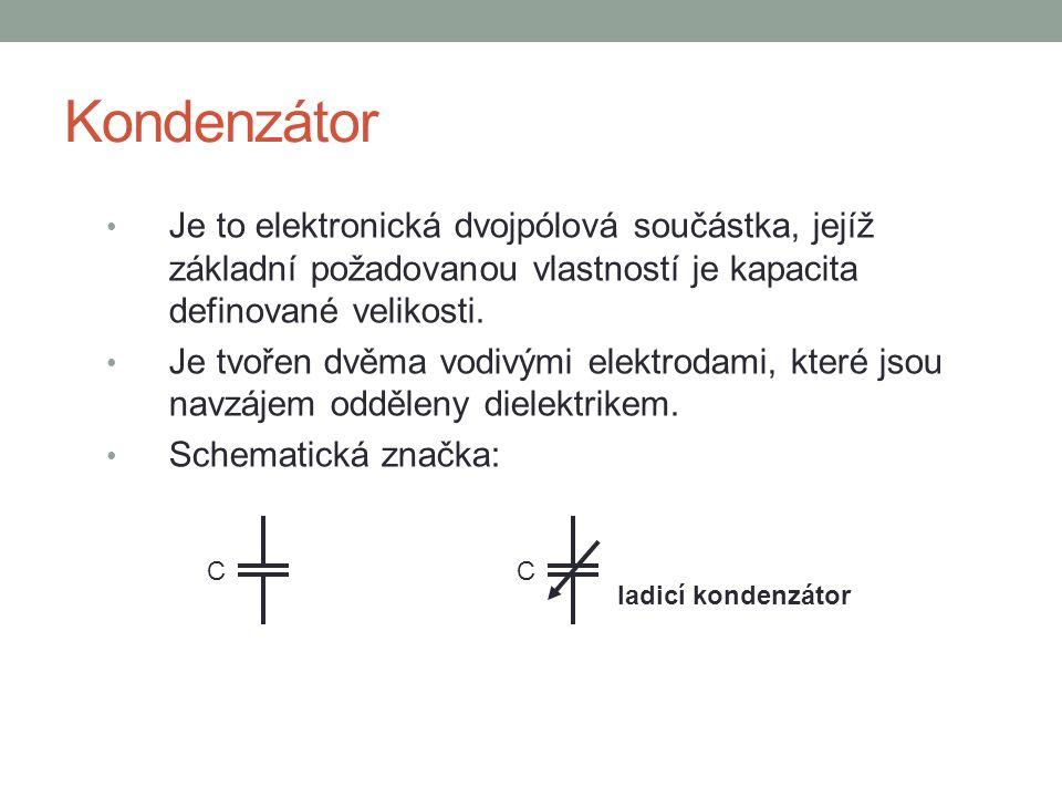 Kondenzátor Je to elektronická dvojpólová součástka, jejíž základní požadovanou vlastností je kapacita definované velikosti.