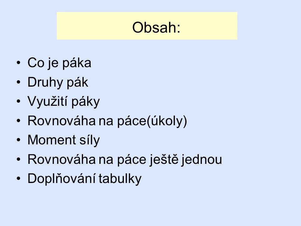 Obsah: Co je páka Druhy pák Využití páky Rovnováha na páce(úkoly)