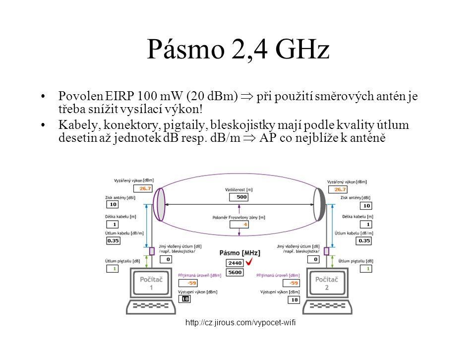 Pásmo 2,4 GHz Povolen EIRP 100 mW (20 dBm)  při použití směrových antén je třeba snížit vysílací výkon!