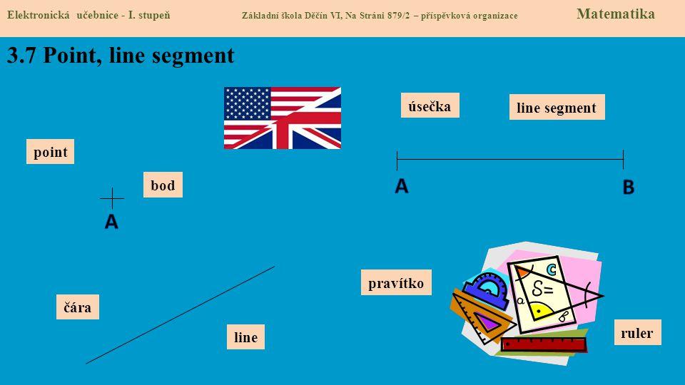 3.7 Point, line segment A B A úsečka line segment point bod pravítko