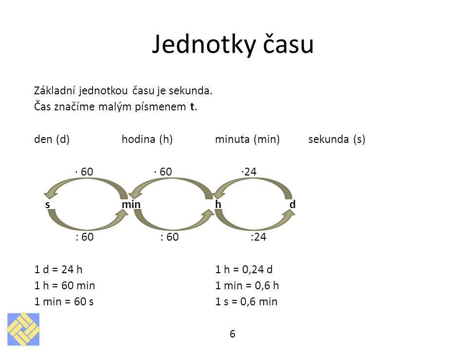 Jednotky času Základní jednotkou času je sekunda.
