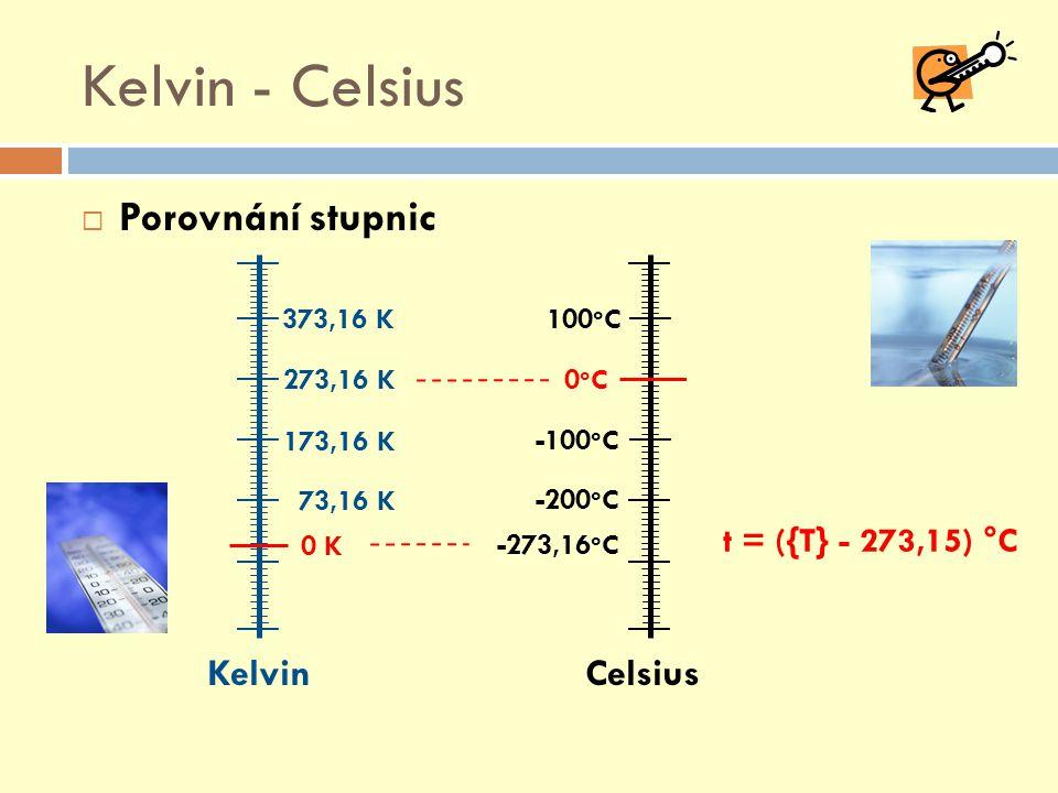 Kelvin - Celsius Porovnání stupnic Kelvin Celsius