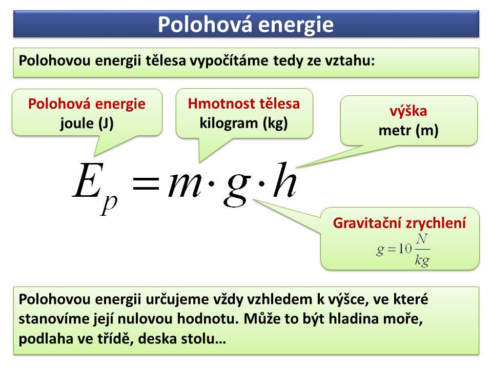 Polohová energie Polohovou energii tělesa vypočítáme tedy ze vztahu: