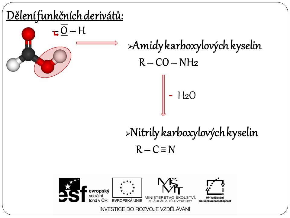 - H2O Dělení funkčních derivátů: – O – H R – CO – NH2 R – C = N