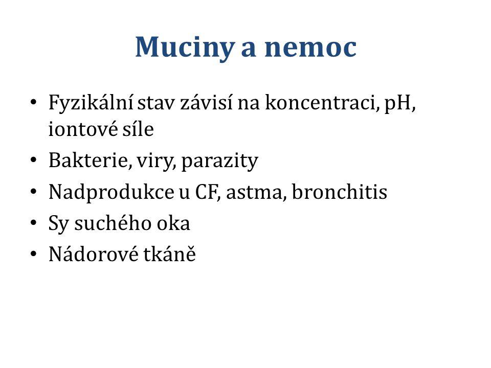 Muciny a nemoc Fyzikální stav závisí na koncentraci, pH, iontové síle