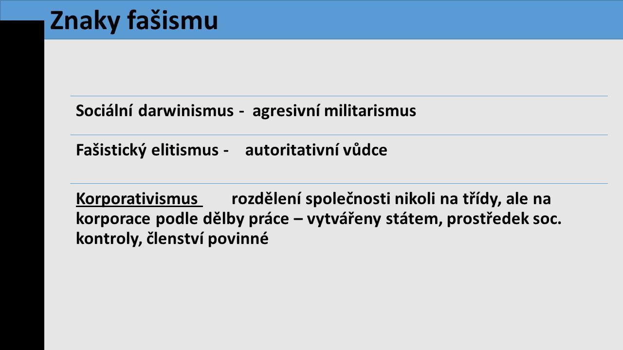 Znaky fašismu Sociální darwinismus - agresivní militarismus