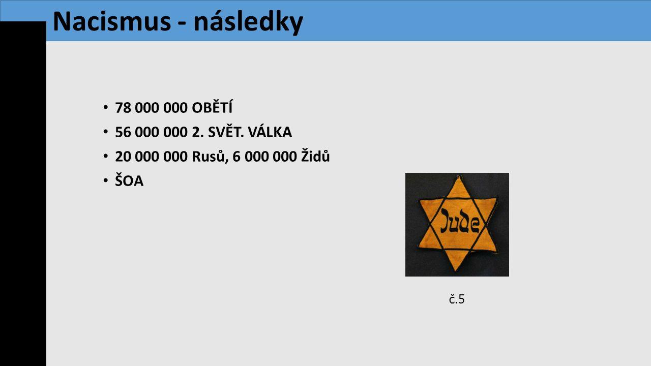 Nacismus - následky 78 000 000 OBĚTÍ 56 000 000 2. SVĚT. VÁLKA