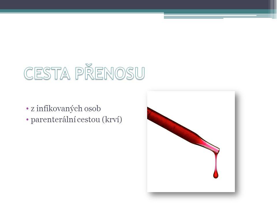 CESTA PŘENOSU z infikovaných osob parenterální cestou (krví)