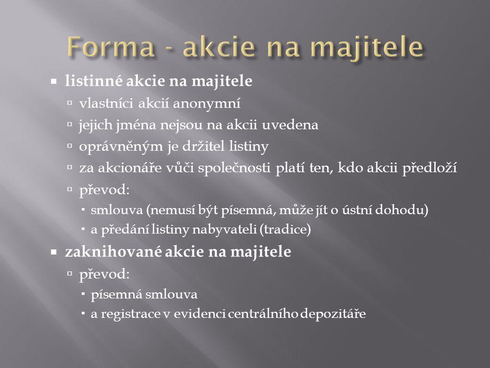 Forma - akcie na majitele
