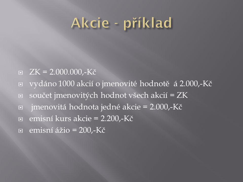 Akcie - příklad ZK = 2.000.000,-Kč. vydáno 1000 akcií o jmenovité hodnotě á 2.000,-Kč. součet jmenovitých hodnot všech akcií = ZK.