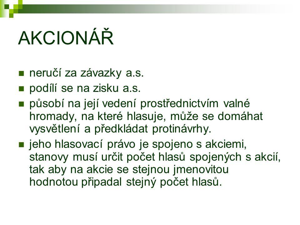 AKCIONÁŘ neručí za závazky a.s. podílí se na zisku a.s.