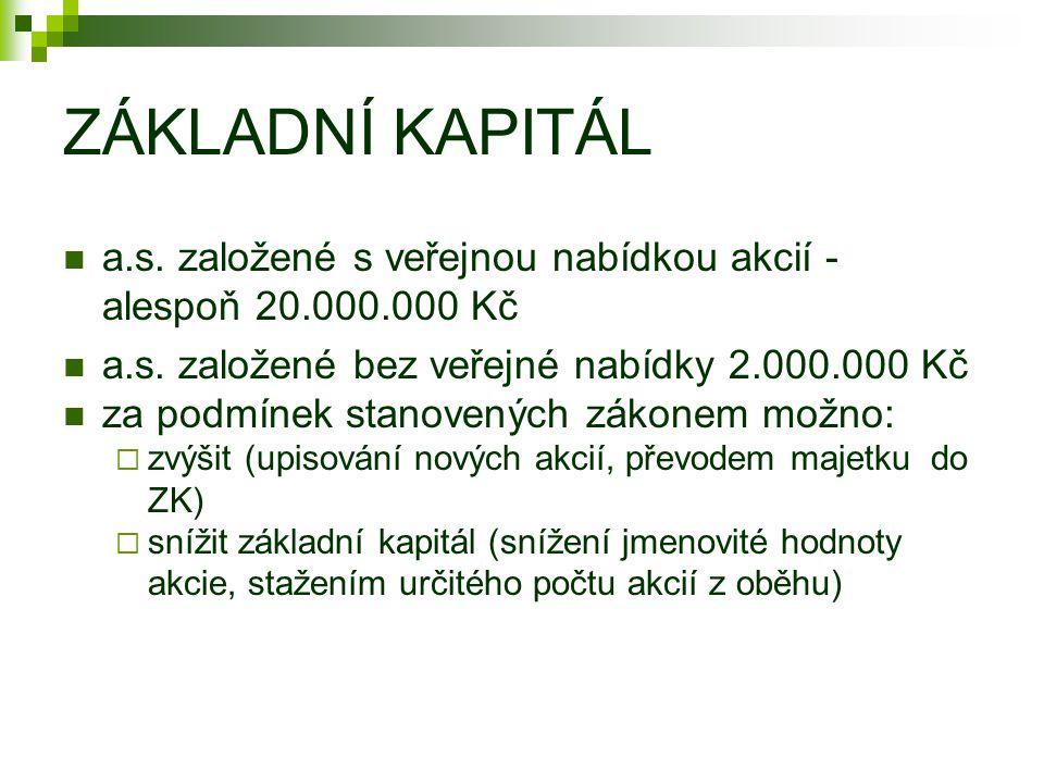 ZÁKLADNÍ KAPITÁL a.s. založené s veřejnou nabídkou akcií - alespoň 20.000.000 Kč. a.s. založené bez veřejné nabídky 2.000.000 Kč.