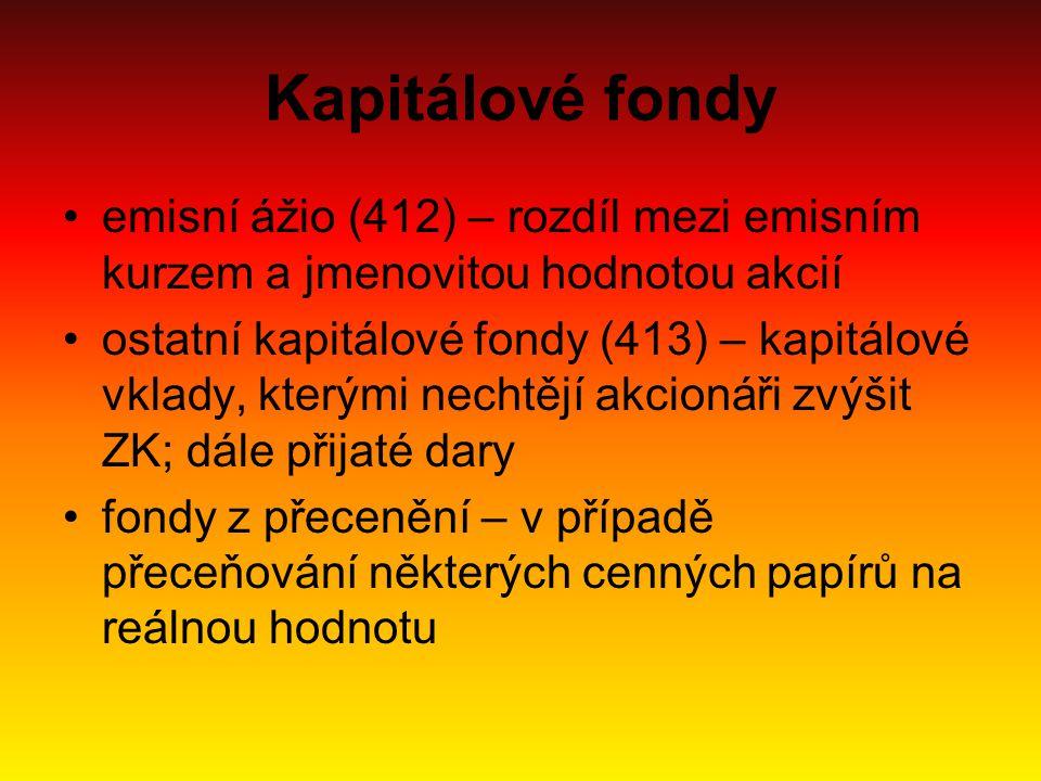 Kapitálové fondy emisní ážio (412) – rozdíl mezi emisním kurzem a jmenovitou hodnotou akcií.