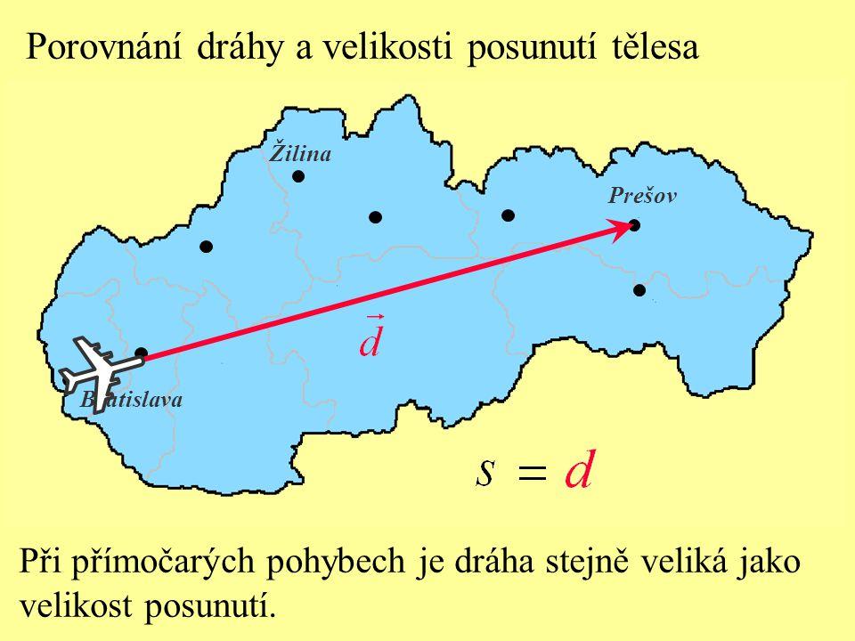 Porovnání dráhy a velikosti posunutí tělesa