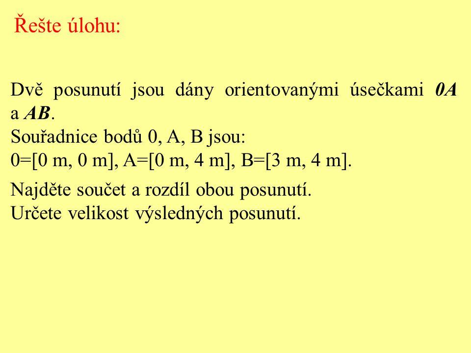 Řešte úlohu: Dvě posunutí jsou dány orientovanými úsečkami 0A a AB.