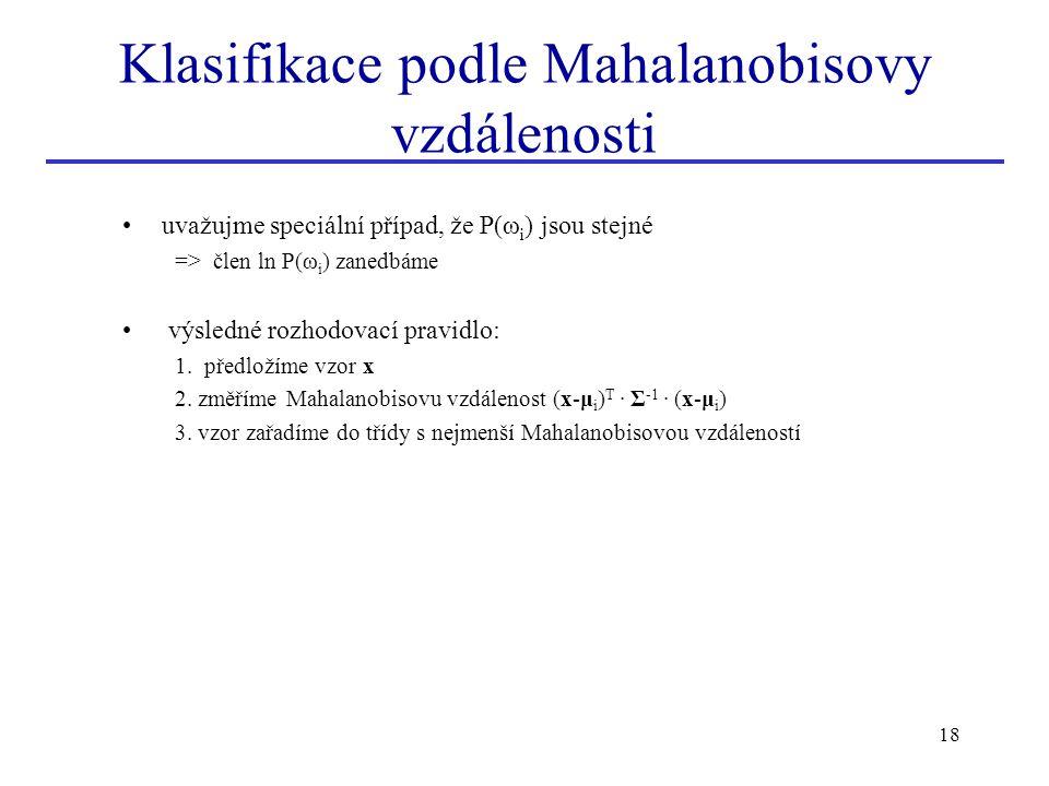 Klasifikace podle Mahalanobisovy vzdálenosti
