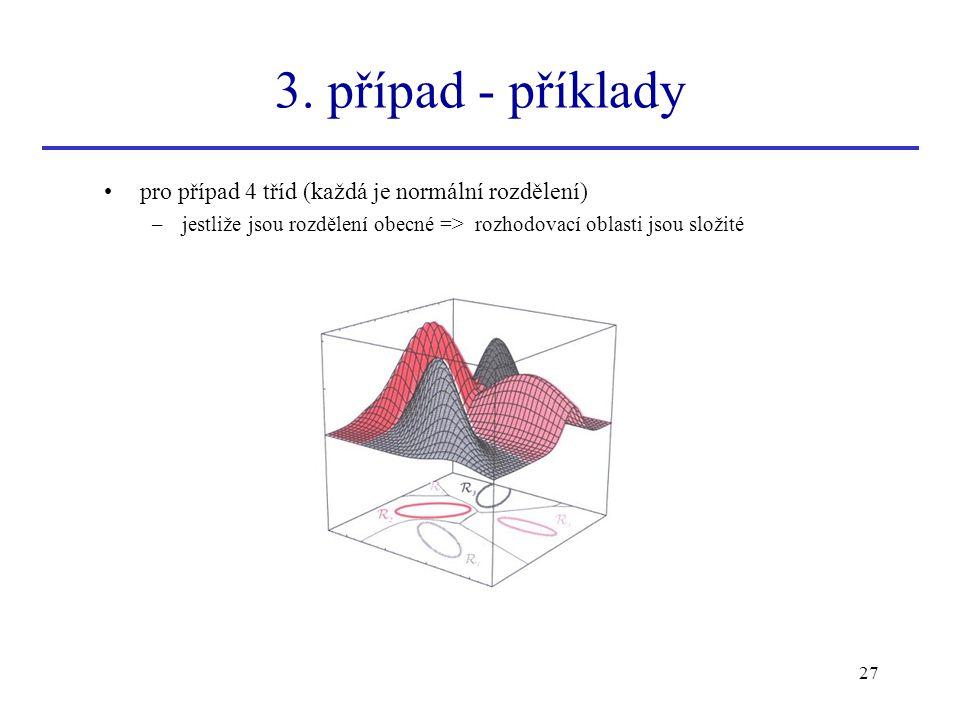 3. případ - příklady pro případ 4 tříd (každá je normální rozdělení)
