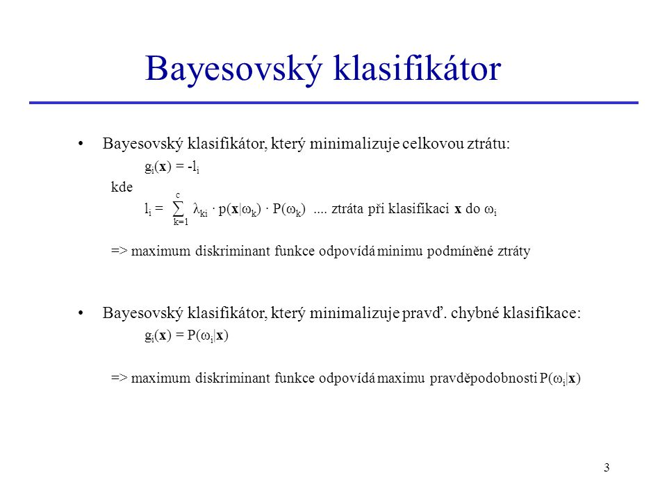 Bayesovský klasifikátor