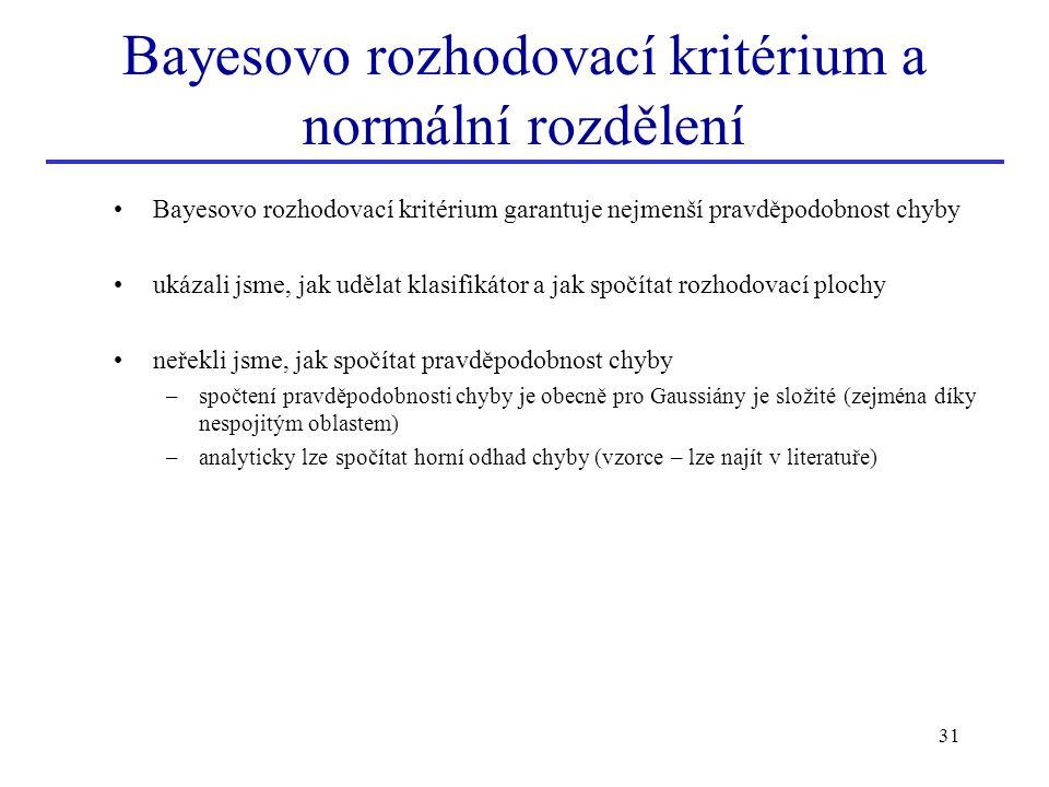 Bayesovo rozhodovací kritérium a normální rozdělení