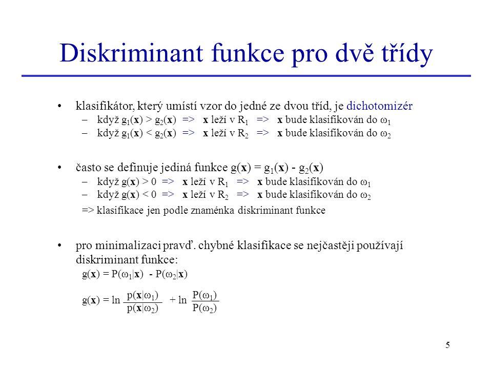 Diskriminant funkce pro dvě třídy