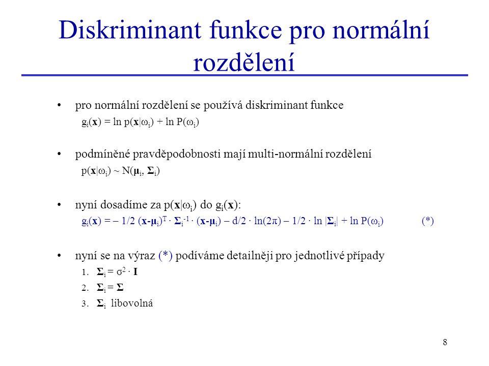 Diskriminant funkce pro normální rozdělení